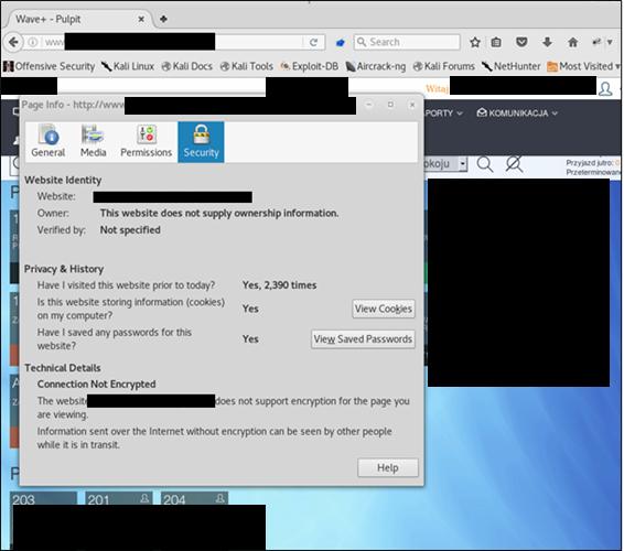 Une vue du message de non-cryptage du navigateur Firefox