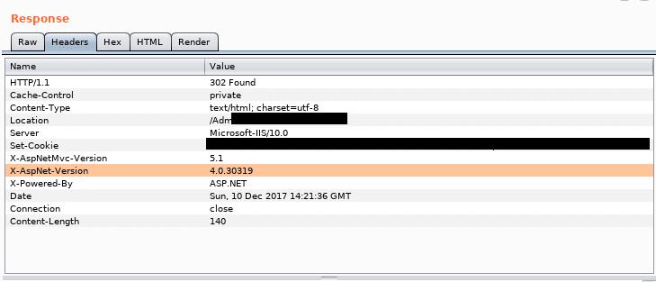 Sample server response with sensitive data