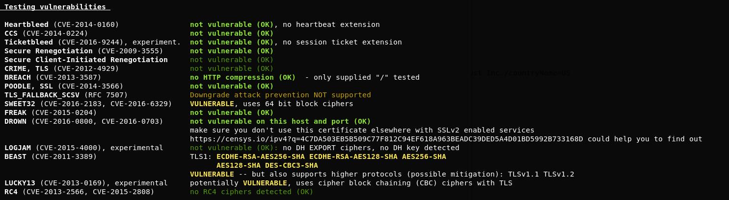 Risultato della scansione dell'implementazione SSL/TLS con il testssl.sh