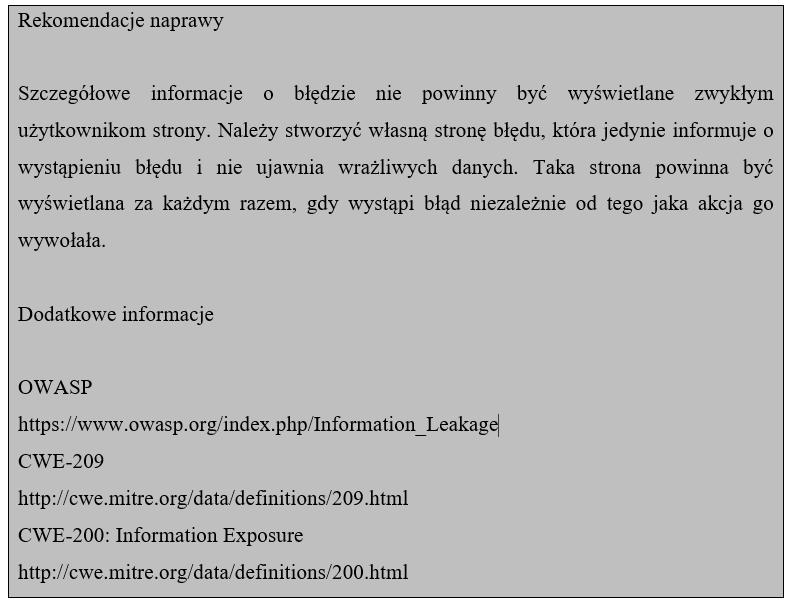 Beispielempfehlung für einen Fehler, bei dem detaillierte Fehlerinformationen angezeigt werden