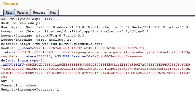 żądanie do serwera wysyłane jest wraz z wcześniej ustalonym tokenem sesyjnym