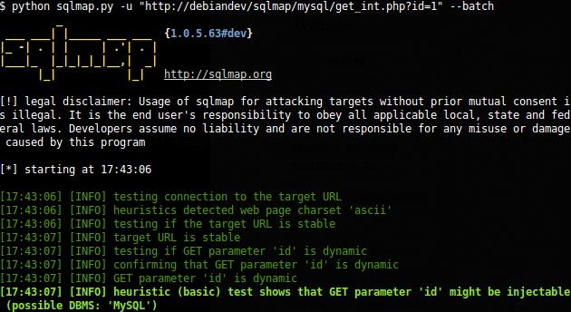 sqlmap का उपयोग करने का उदाहरण