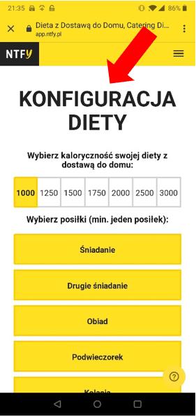 konfiguracja diety ntfy aplikacja mobilna