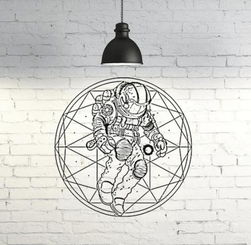 宇宙飛行士の壁アート